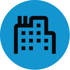 Black built environment thematic icon with blue circular background.