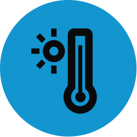 Black climate change thematic icon with blue circular background.