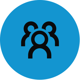 Black community thematic icon with blue circular background.