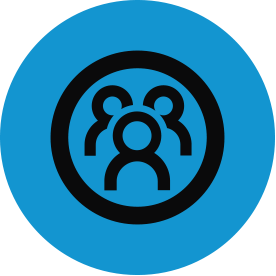 Black community of practice thematic icon with blue circular background.