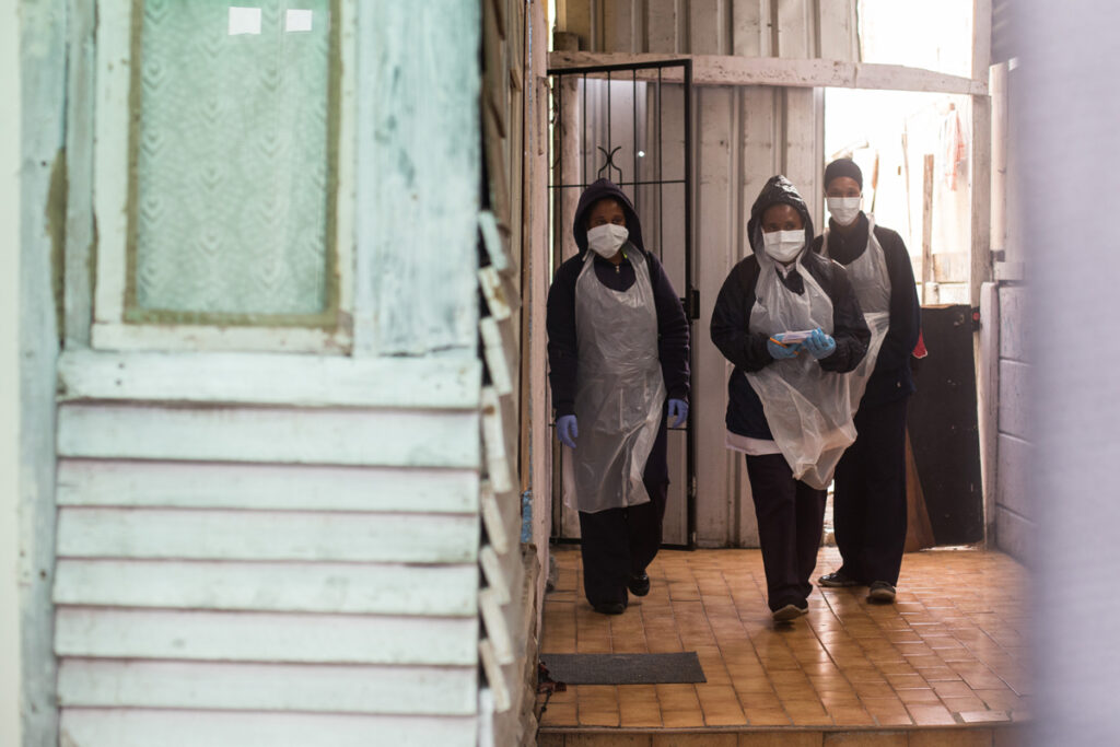 Nurses in Cape Town, South Africa, helping COVID-19 patients during the pandemic.
