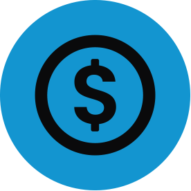 Black economy and finance thematic icon with blue circular background.