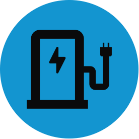 Black energy thematic icon with blue circular background.