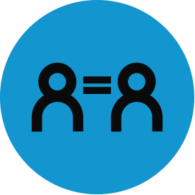 Black equity thematic icon with blue circular background.