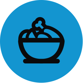 Black food thematic icon with blue circular background.