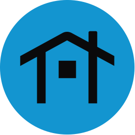 Black housing thematic icon with blue circular background.