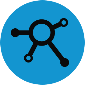 Black program thematic icon with blue circular background.