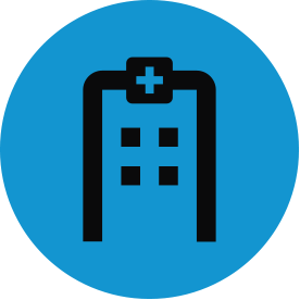 Black public health thematic icon with blue circular background.