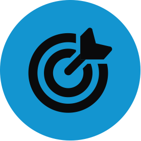 Black strategy thematic icon with blue circular background.
