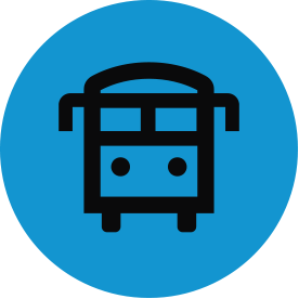 Black transport and mobility thematic icon with blue circular background.