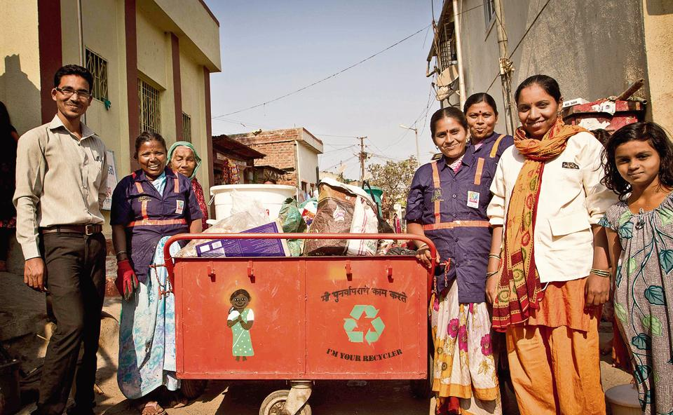 Recyclers in lndia working together to improve waste management, pursing a circular economy.