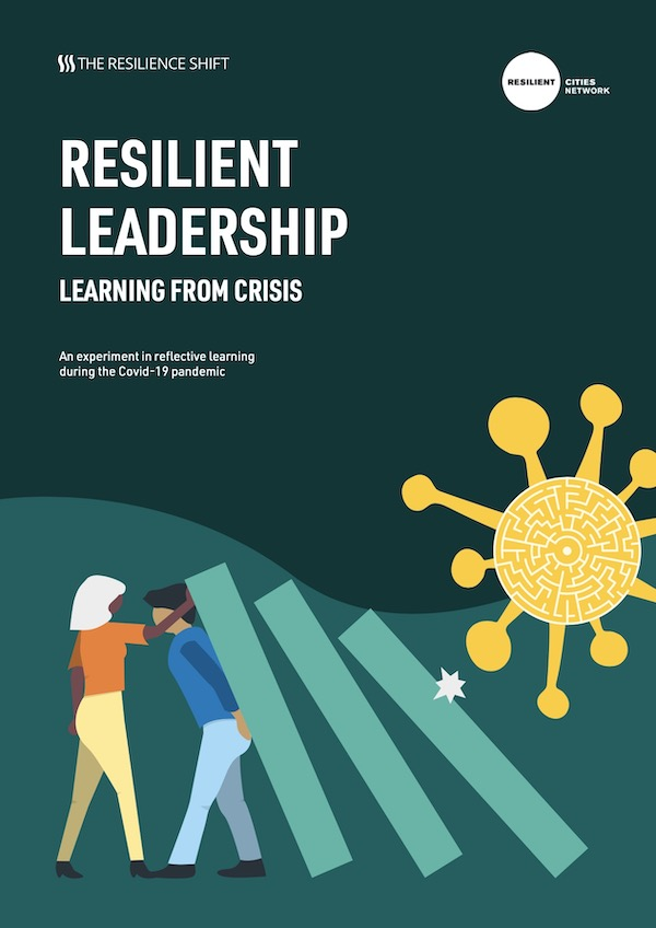 Cover page of the Resilient Leadership Learning from Crisis report with an illustration representing people defending from Covid-19 pandemic.