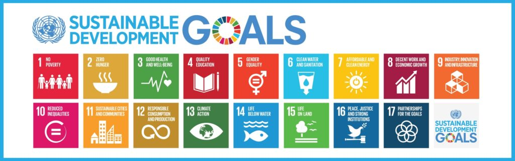 Icons representing the 17 sustainable development goals defined by United Nations as a blueprint to achieve a better and more sustainable future for all by 2030.