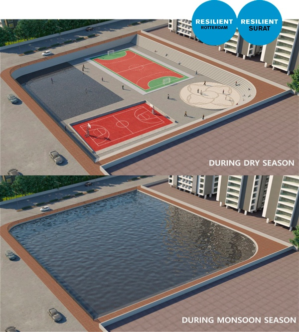 A render showing the design of a water plaza in Surat that provides an alternative source of drinking water, and encourages awareness of water conservation.
