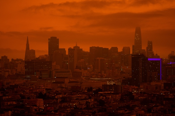 Photo of a city skyline during sunset.