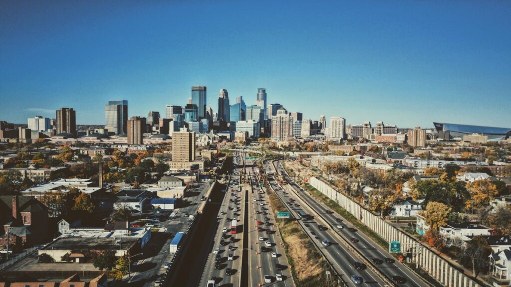 View of the skyline of Minneapolis.